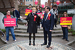 © Joel Goodman - 07973 332324 . 17/04/2015 . Chester , UK . EDDIE IZZARD joins Labour candidate Chris Matheson (r) , campaigning in the City of Chester constituency . Photo credit : Joel Goodman