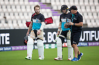 Kane Williamson and Tom Latham head to the nets during a training session ahead of the ICC World Test Championship Final at the Hampshire  Bowl on 17th June 2021