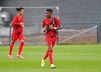 Stanis Idumbo Muzambo (10) of Belgium pictured in action during a soccer game between the national teams Under17 Youth teams of  Norway and Belgium on day 3 in the Qualifying round in group 3 on Tuesday 12 th of October 2020  in Tubize , Belgium . PHOTO SPORTPIX   DAVID CATRY