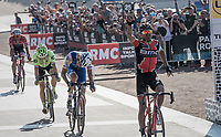 Victory sprint for Greg Van Avermaet (BEL/BMC), beating Zdenek Stybar (CZE/Quick Step Floors) to the finish line<br /> <br /> 115th Paris-Roubaix 2017 (1.UWT)<br /> One Day Race: Compiègne › Roubaix (257km)
