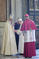 Papa Francesco saluta il Papa Emerito Benedetto XVI, accompagnato da Monsignor Georg Gaenswein, dopo aver aperto la Porta Santa aperta da Papa Francesco in occasione dell'inizio ufficiale del Giubileo della Misericordia, nella Basilica di San Pietro, Citta' del Vaticano, 8 dicembre 2015.<br /> Pope Francis greets Pope Emeritus Benedict XVI, accompanied by Monsignor Georg Gaenswein, after opening the Holy Door on the occasion of the start of the Jubilee of Mercy, on St. Peter's Basilica at the Vatican, 8 December 2015.<br /> UPDATE IMAGES PRESS/Giagnori Bonotto<br /> <br /> STRICTLY ONLY FOR EDITORIAL USE