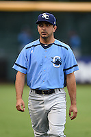 Charlotte Stone Crabs Pat Blair (5) before a game against the Bradenton Marauders on April 20, 2015 at McKechnie Field in Bradenton, Florida.  Charlotte defeated Bradenton 6-2.  (Mike Janes/Four Seam Images)