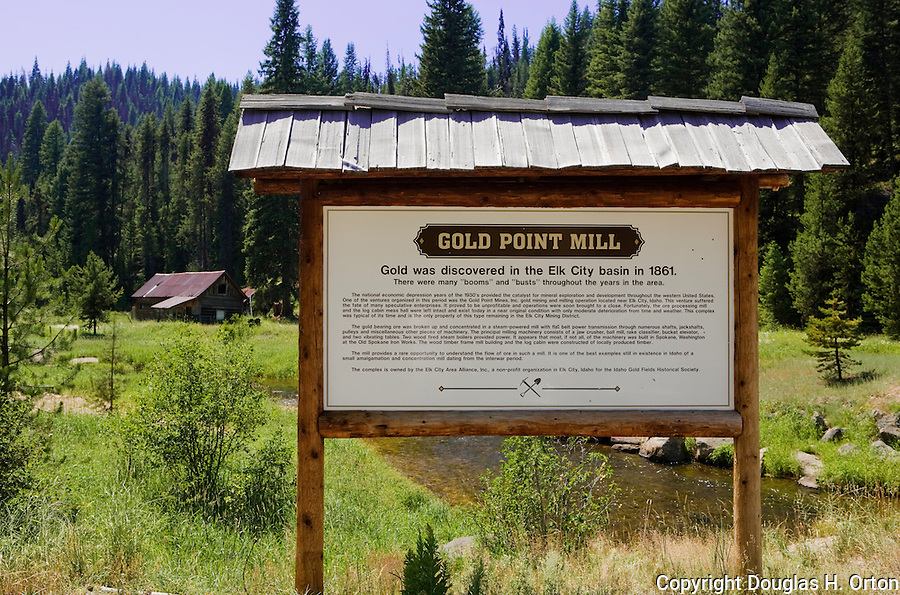 The remote Red River, a truly wild and scenic river in Idaho is an upper tributary of the Clearwater, a famous and remote trout stream.  Both are famous gold mining areas near Elk City, Idaho.  Pictured is the mill for the Gold Point Mine.