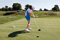 6th September 2021: Toledo, Ohio, USA;  Leona Maguire of Team Europe plays her tee shot on the 14th hole during the singles matches of the Solheim Cup on September 6, 2021 at Inverness Club in Toledo, Ohio.