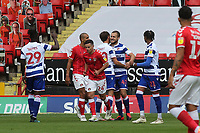 George Puscas (No 47) celebrates scoring Reading's opening goal from the penalty spot during Charlton Athletic vs Reading, Sky Bet EFL Championship Football at The Valley on 11th July 2020