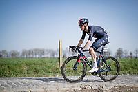 eventual race winner Dylan van Baarle (NED/INEOS Grenadiers) on the Varentstraat cobbles<br /> <br /> 76th Dwars door Vlaanderen 2021 (MEN1.UWT)<br /> 1 day race from Roeselare to Waregem (184km)<br /> <br /> ©kramon