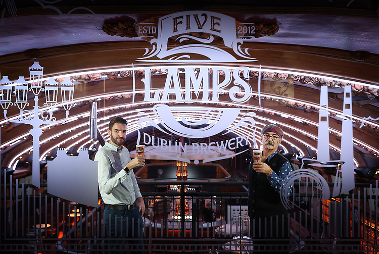 "No Repro Fee.<br /> Ross Bissett, General Manager of the Five Lamps Dublin Brewery (left) and William Harvey, Five Lamps Master Brewer, pictured together prior to the official opening of the Five Lamps Dublin Brewery and Visitor Centre, housed upstairs in Camden street's 'The Camden' (formerly 'The Palace'). Iconic and steeped in local history, this former cinema played host to the Theatre De Luxe in the early 20th century and also featured in scenes from the famous Dublin musical and comedy-drama ""The Commitments"". While respecting its original features and illustrious past, the building has undergone a radical modernisation and transformation which includes a first floor dedicated to the Five Lamps Dublin Brewery. Pic. Robbie Reynolds"