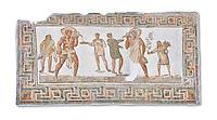 3rd century AD Roman mosaic panel of a drinking scene from Dougga, Tunisia.  The Bardo Museum, Tunis, Tunisia. White background