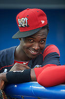 Batavia Muckdogs Javier Lopez (23) jokes around in the dugout before a game against the West Virginia Black Bears on August 20, 2016 at Dwyer Stadium in Batavia, New York.  Batavia defeated West Virginia 7-2. (Mike Janes/Four Seam Images)