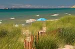 Michigan beach scene with Manitou Island