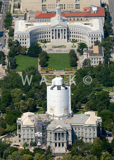 Downtown Denver aerial.  Capitol Building and City Hall. Aug 2013. 81315