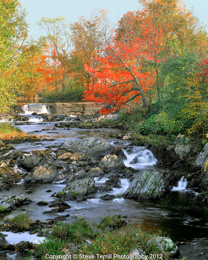 Fall Brook flowing over rocks in Solon Maine