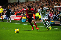 Saturday 2nd Febuaray 2014<br /> Pictured: Kim Bo-Kyung  and Wayne Routledge chase the ball <br /> Re: Barclays Premier League Swansea City FC  v Cardiff City FC at the Liberty Stadium, Swansea