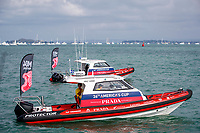 Safety boats keep the on-water fans in check. Emirates Team New Zealand VS INEOS TEAM UK in race 8 of the Round Robin competition of the PRADA America's Cup World Series in Auckland, New Zealand on Friday 18th December 2020. Copyright Photo: Libby Law Photography