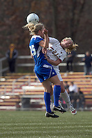 Hofstra University midfielder Brittany Butts (25) and Boston College midfielder Kate McCarthy (21) battle for head ball. Boston College defeated Hofstra University, 3-1, in second round NCAA tournament match at Newton Soccer Field, Newton, MA.