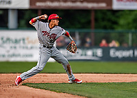 21 July 2019: Tri-City ValleyCat infielder Deury Carrasco in action against the Vermont Lake Monsters at Centennial Field in Burlington, Vermont. The Lake Monsters rallied to defeat the ValleyCats 6-3 in NY Penn League play. Mandatory Credit: Ed Wolfstein Photo *** RAW (NEF) Image File Available ***