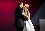 Oliver Stone kisses Cayetana Guillen Cuervo during the 61st San Sebastian International Film Festival's opening ceremony, in San Sebastian, Spain. September 20, 2013. (ALTERPHOTOS/Victor Blanco)