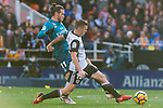 Gareth Bale of Real Madrid (L) fights for the ball with Antonio Latorre Grueso, Lato, of Valencia CF (R) during the La Liga 2017-18 match between Valencia CF and Real Madrid at Estadio de Mestalla  on 27 January 2018 in Valencia, Spain. Photo by Maria Jose Segovia Carmona / Power Sport Images
