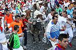 Second bull runing of San Fermin at Pamplona, with bulls of the ranch of Cebada Gago. July 08, 2016. (ALTERPHOTOS/Rodrigo Jimenez)