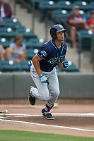 Blake Perkins (22) of the Wilmington Blue Rocks hustles down the first base line against the Winston-Salem Warthogs at BB&T Ballpark on July 17, 2019 in Winston-Salem, North Carolina. The Blue Rocks defeated the Warthogs 4-1. (Brian Westerholt/Four Seam Images)