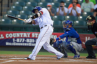 Round Rock Express designated hitter Manny Ramirez (99) swings the bat against the Iowa Cubs in the Pacific Coast League baseball game on July 21, 2013 at the Dell Diamond in Round Rock, Texas. Round Rock defeated Iowa 3-0. (Andrew Woolley/Four Seam Images)