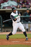 Jordan Wideman #23 of the Dayton Dragons at bat versus the Great Lakes Loons at Fifth Third Field April 21, 2009 in Dayton, Ohio. (Photo by Brian Westerholt / Four Seam Images)