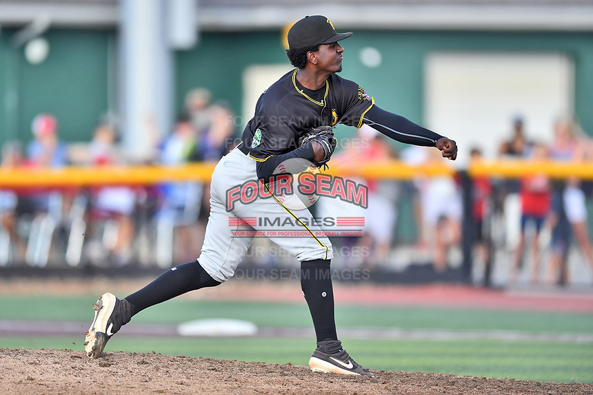 Bristol Pirates pitcher Yoelvis Reyes (55) delivers a pitch during game two of the Appalachian League, West Division Playoffs against the Johnson City Cardinals at TVA Credit Union Ballpark on August 31, 2019 in Johnson City, Tennessee. The Cardinals defeated the Pirates 7-4 to even the series at 1-1. (Tony Farlow/Four Seam Images)