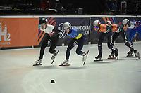 SPEEDSKATING: DORDRECHT: 05-03-2021, ISU World Short Track Speedskating Championships, QF 1500m Men, Oleh Handei (UKR), Sjinkie Knegt (NED), Reinis Berzins (LAT), ©photo Martin de Jong