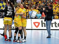 Die Leipzigerinnen gewannen auch das zweite Spiel der Gruppenphase in der Champions League. Im Bild: Freude bei den HCL-Spielerinnen. Foto: Ines Christ