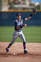 Savier Pinales (2) of Riverside University High School in Milwaukee, Wisconsin during the Baseball Factory All-America Pre-Season Tournament, powered by Under Armour, on January 13, 2018 at Sloan Park Complex in Mesa, Arizona.  (Mike Janes/Four Seam Images)