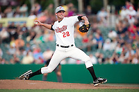 Tri-City ValleyCats starting pitcher Mark Appel #28 delivers a pitch during his first professional start against the Lowell Spinners on July 5, 2013 at Joseph L. Bruno Stadium in Troy, New York.  Appel was the first overall selection of the 2013 Major League Baseball Draft by the Houston Astros out of Stanford University.  (Mike Janes/Four Seam Images)
