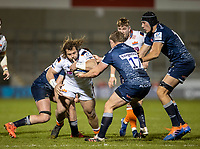 19th December 2020; AJ Bell Stadium, Salford, Lancashire, England; European Champions Cup Rugby, Sale Sharks versus Edinburgh; Pierre Schoeman of Edinburgh Rugby is tackled by Ross Harrison of Sale Sharks