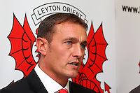Ian Hendon address the media - Leyton Orient FC Press Conference to announce new manager Ian Hendon at Brisbane Road, Leyton Orient FC, Leyton, London - 29/05/15 - MANDATORY CREDIT: Gavin Ellis/TGSPHOTO - Self billing applies where appropriate - contact@tgsphoto.co.uk - NO UNPAID USE