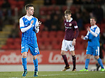St Johnstone v Hearts…23.12.17…  McDiarmid Park…  SPFL<br />Stefan Scougall applauds the fans as he is subbed<br />Picture by Graeme Hart. <br />Copyright Perthshire Picture Agency<br />Tel: 01738 623350  Mobile: 07990 594431