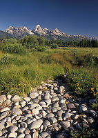 Grand Teton National Park, WY, Teton Mountains, Jackson Hole, Wyoming, Picturesque view of the Grand Teton Mountains from a scenic overlook in Grand Teton Nat'l Park in Wyoming.