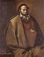 VELAZQUEZ, Diego Rodríguez de Silva (1599-1660). Saint Paul. 1619. Baroque art. Oil on canvas. SPAIN. Barcelona. National Art