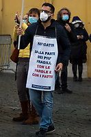 """Rome, Italy. 09th Feb, 2021. Today, the tree Italian main Trade Unions, CGIL, CISL and UIL, held a national demonstration (1.) outside the Italian Parliament in Piazza Montecitorio to highlights the situation of the employment centers' """"Navigators"""" and their national contract which will expire at the end of April 2021. From the organisers Facebook event page: «The employment contracts of the 2,700 navigators who have been operating for over a year in employment centers throughout Italy and more generally in the field of active employment policies will expire on 30 April. Failure to renew them would have serious repercussions both in terms of employment and services provided to the community. After numerous attempts at discussions with Institutions that have remained unanswered to date, Nidil Cgil, Felsa Cisl and Uiltemp, we have promoted the first national mobilization day for the navigator dispute […]».<br /> <br /> Footnotes & Links:<br /> 1. https://www.facebook.com/events/849022839280841"""