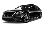 Stock pictures of low aggressive front three quarter view of a 2018 Mercedes Benz S Class Base 4 Door Sedan