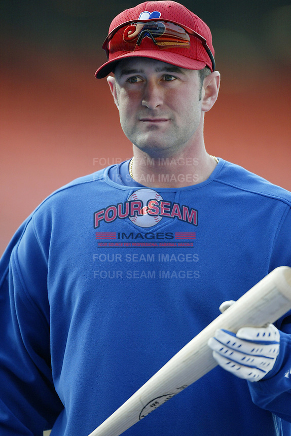 Brian Schneider of the Montreal Expos before a 2002 MLB season game  against the Los Angeles Dodgers at Dodger Stadium, in Los Angeles, California. (Larry Goren/Four Seam Images)