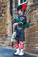 Scottish piper on The Royal Mile in Edinburgh.