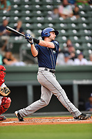 Left fielder Vince Fernandez (8) of Asheville Tourists bats in a game against the Greenville Drive on Wednesday, May 3, 2017, at Fluor Field at the West End in Greenville, South Carolina. Greenville won, 8-0. (Tom Priddy/Four Seam Images)