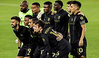 CARSON, CA - OCTOBER 28: LAFC starting eleven versus the Houston Dynamo during a game between Houston Dynamo and Los Angeles FC at Banc of California Stadium on October 28, 2020 in Carson, California.