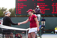 STANFORD, CA - February 25, 2011:  Mallory Burdette congratulates her opponent after Burdette's win in Stanford's 7-0 victory over Oregon at Stanford, California on February 25, 2011.
