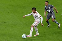 ST PAUL, MN - SEPTEMBER 27: Maikel Chang #16 of Real Salt Lake keeps the ball away from Jacori Hayes #5 of Minnesota United FC during a game between Real Salt Lake and Minnesota United FC at Allianz Field on September 27, 2020 in St Paul, Minnesota.
