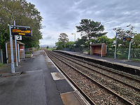 Pictured: Llangennech Railway Station, Wales, UK. Thursday 27 August 2020<br /> Re: A freight train carrying diesel has derailed and burst into flames in Llangennech, near Llanelli, Wales, UK.<br /> People living nearby in Carmarthenshire, were evacuated but have since returned to their homes.<br /> Police declared a major incident, put a cordon in place and closed roads.<br /> The two workers who were on board the train have been accounted for and no injuries have been reported according  to the British Transport Police.