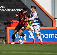 Queens Park Rangers' Ilias Chair (right) battles with Bournemouth's Dominic Solanke (left)<br /> <br /> Photographer David Horton/CameraSport<br /> <br /> The EFL Sky Bet Championship - Bournemouth v Queens Park Rangers - Saturday 17th October 2020 - Vitality Stadium - Bournemouth<br /> <br /> World Copyright © 2020 CameraSport. All rights reserved. 43 Linden Ave. Countesthorpe. Leicester. England. LE8 5PG - Tel: +44 (0) 116 277 4147 - admin@camerasport.com - www.camerasport.com