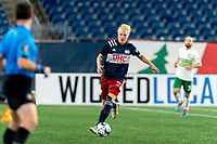 FOXBOROUGH, MA - AUGUST 26: Connor Presley #7 of New England Revolution II chases down loose ball during a game between Greenville Triumph SC and New England Revolution II at Gillette Stadium on August 26, 2020 in Foxborough, Massachusetts.