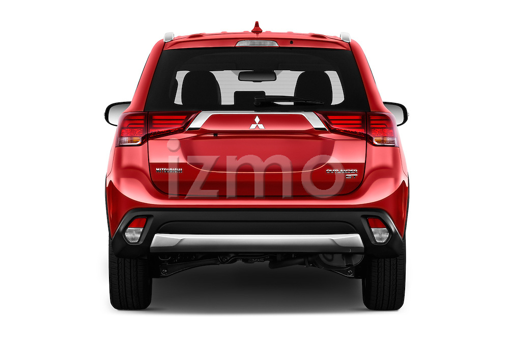 Straight rear view of 2017 Mitsubishi Outlander GT 5 Door SUV Rear View  stock images