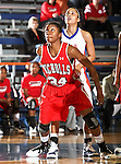Nicholls State University Colonels forward Alisha Allen (34) waits for a rebound  in the game between the UTA Mavericks and the  Nicholls State University Colonels  held at the University of Texas in Arlington's Texas Hall in Arlington, Texas. UTA defeats Nicholls 69 to 62