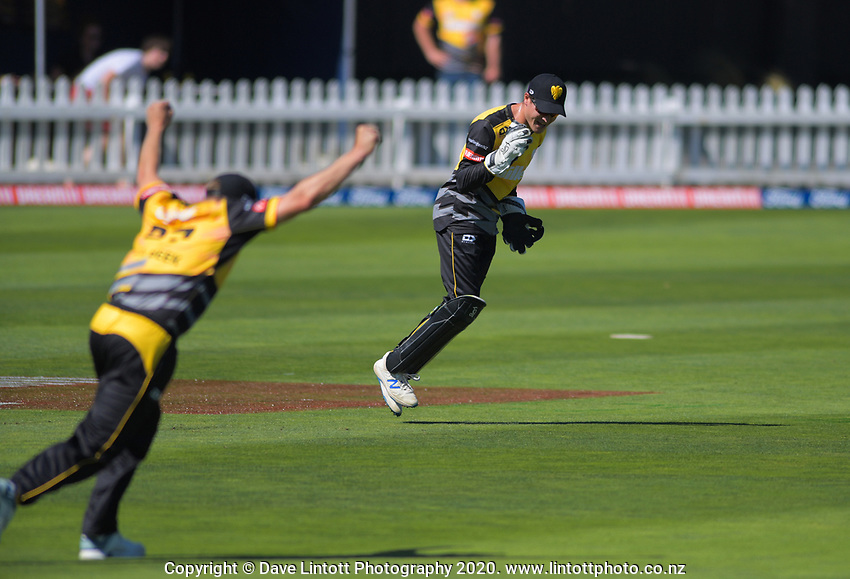 Lachie Johns celebrates catching Chad Bowes during the Dream11 Super Smash cricket match between the Wellington Firebirds and Canterbury Kings at Basin Reserve in Wellington, New Zealand on Thursday, 9 January 2020. Photo: Dave Lintott / lintottphoto.co.nz